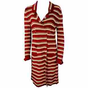 Sonia Rykiel Paris Red and White Knit Cotton Cardigan