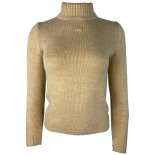 Courreges Paris Beige Knit Wool Sweater, Size 0