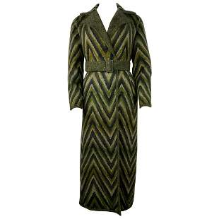 Vintage Missoni Green Striped Wool Blend Maxi Coat