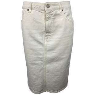 MM6 Maison Margiela White Denim Pencil Skirt, Size 42