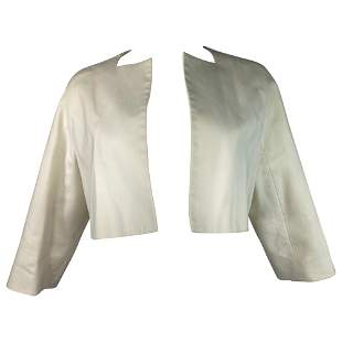 Dsquared2 Cream Cotton Cropped Blazer Jacket Size 44