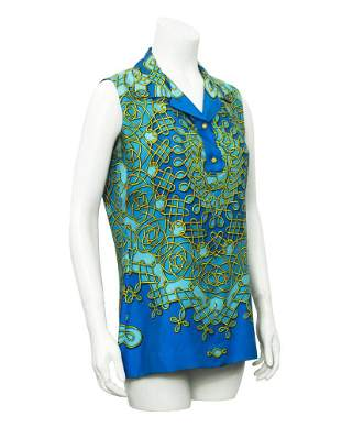 Hermes Blue sleeveless Silk Top