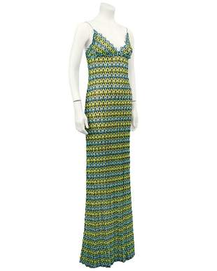 Missoni Green and Blue Crochet Maxi Dress