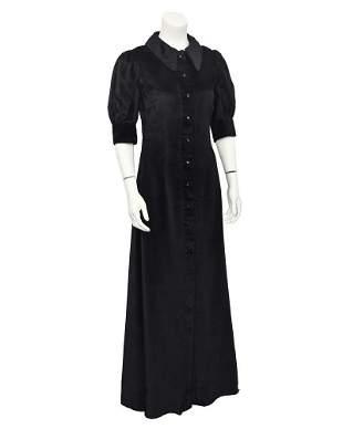 Annacat Black Velvet Shirt Dress
