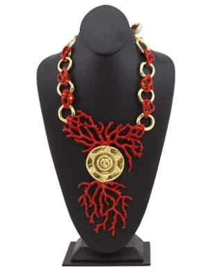 Yves Saint Laurent Red Enamel & Gold Coral Necklace