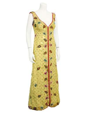 Anonymous Gold Gown with Paisley Beading