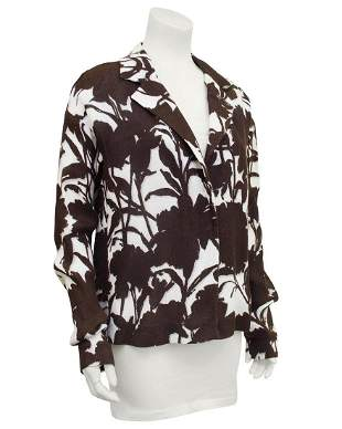 Prada Brown and Cream Floral Linen Jacket
