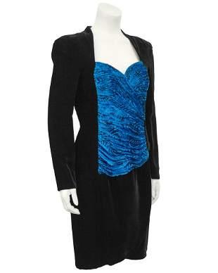 Vicky Tiel Black Velvet Cocktail Dress with Royal Blue
