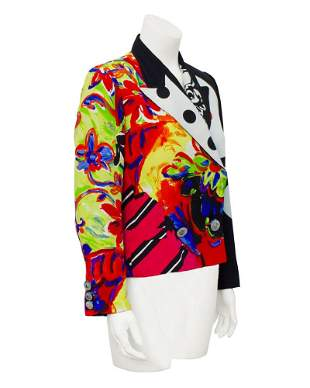 Versace Mutli-color Silk Printed Blazer