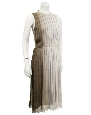Prada Taupe Pleated Chiffon Ombre Dress