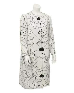 Nina Ricci White & black floral print coat