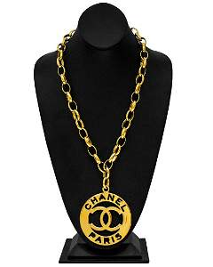 Chanel Large Logo Pendant and Chain Link Necklace