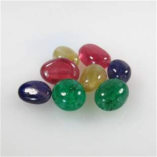 33.61 Ctw Natural 8 Emerald, Ruby, Sapphire Beads