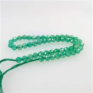 10.18 Ctw Natural 51 Drilled Green Onyx Round Cut Beads