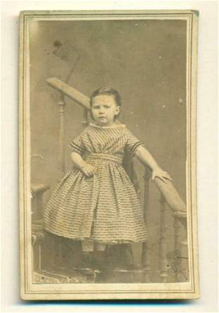 c 1860s YOUNG CHILD ON STAIRS TO NOWHERE, STUDIO PROP,