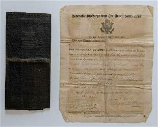 1919 HONORABLE DISCHARGE PAPER AMEAL SHERDON AFRICAN