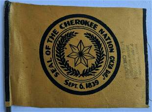 VINTAGE FLAG w SEAL OF THE CHEROKEE NATION, FORT