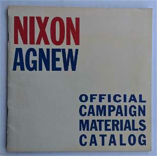 VINTAGE 1968 NIXON AGNEW OFFICIAL CAMPAIGN MATERIAL