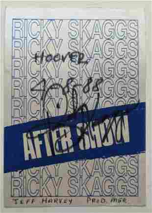 VINTAGE BACK STAGE PASS RICKY SKAGGS AUTOGRAPH SIGNED