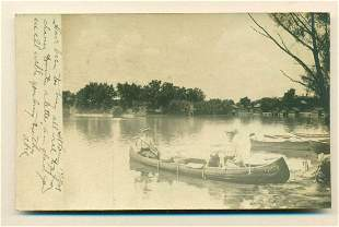 1908 ST. LOUIS MISSOURI 2 YOUNG LADIES in CANOE w WITCH
