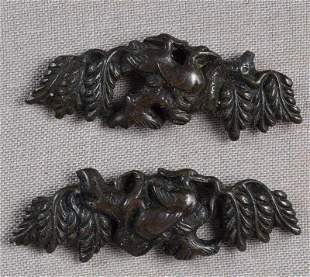 Pair 19c Japanese sword MENUKI GEESE & WILLOWS