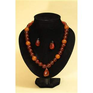 Vintage natural Baltic amber necklace,earrings pendant
