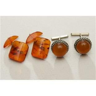 15g natural Baltic amber 2 pairs cufflinks vintage