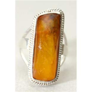Natural Baltic amber ring, silver 925 stamped accessory