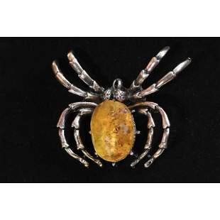 20g Natural Baltic amber brooch spider metal