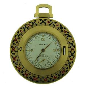 Longines Yellow Gold Enamel Roulette Pocket Watch Circa