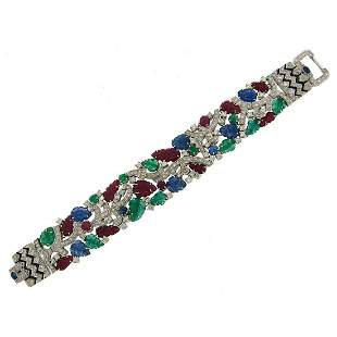 Carved Ruby Sapphire Emerald Diamond White Gold
