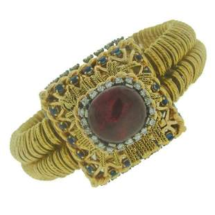 Pierre Sterle Gold Garnet Diamond Sapphire Watch circa