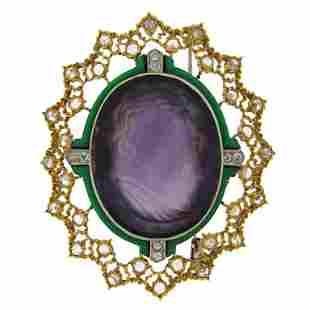 Buccellati Carved Amethyst Cameo Enamel Diamond Gold