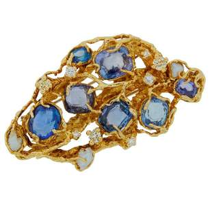 Arthur King Pearl Sapphire Diamond Yellow Gold Brooch