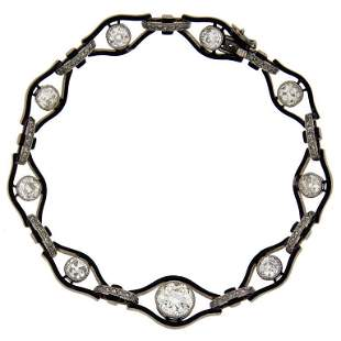 Art Deco Enamel Diamond Palladium Bracelet