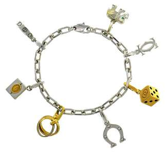 CARTIER Diamond Gold Charm BRACELET with Signature