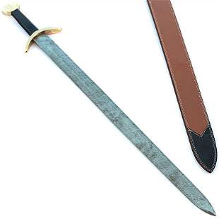Exclusive pattern damascus steel sword leather