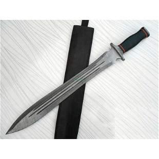 Wild life damascus steel sword micarta