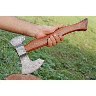 Hatchet damascus steel viking axe rose wood
