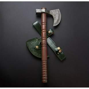 Hatchet damascus steel viking axe walnut wood