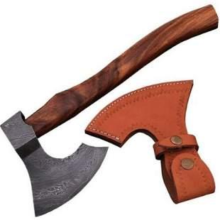 Combat damascus steel viking axe out door