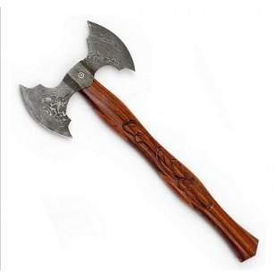 Combat damascus steel viking axe walnut wood