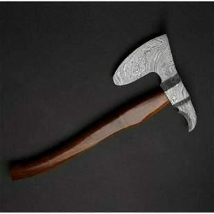 Splitter damascus steel viking axe gift walnut wood