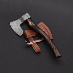 Bowie damascus steel viking axe gift rose wood