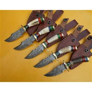 5 pcs SET butcher damascus steel knife horn knives