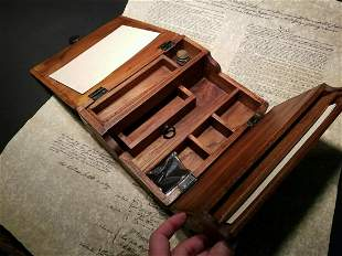 olding Writing Slope Lap Desk Box with Inkwell Pen Ink