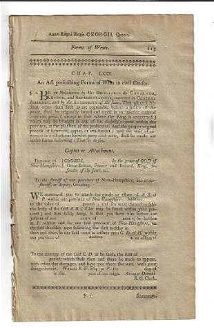 1771 Colonial New Hampshire Forms of Writs