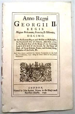 1737 English Act Murder of Captain Porteous by Rioters