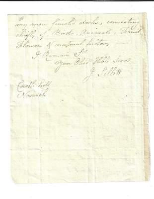1812 Letter of Artist James Sillett