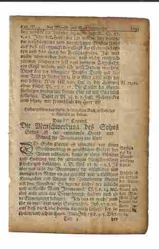 1751 Leaf Fraktur Printing Benjamin Franklin